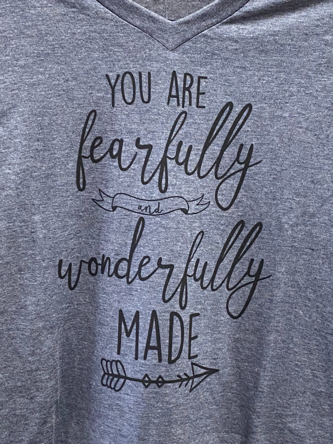 Fearfully & Wonderfully Made - Heathered Blue V Neck