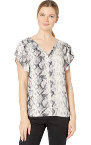 Tribal - Ruffle Sleeve Snakeskin Print Top - Stone