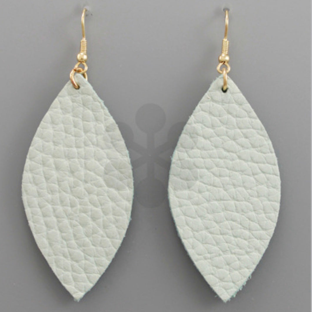 Mint Faux Leather Oblong Earrings