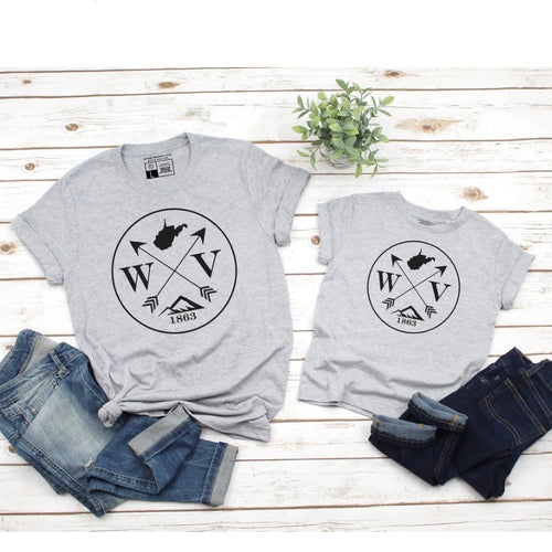 West Virginia Circles and Arrows - Grey Crew Neck
