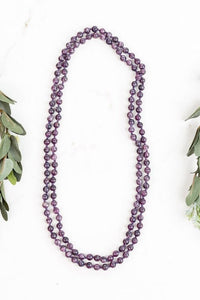 Back to the Basics Natural Stone Bead Necklace - Purple Amethyst