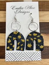 Load image into Gallery viewer, Emilia Alice Designs - Clay Earrings -Navy Glitter with Gold Detail Horseshoe