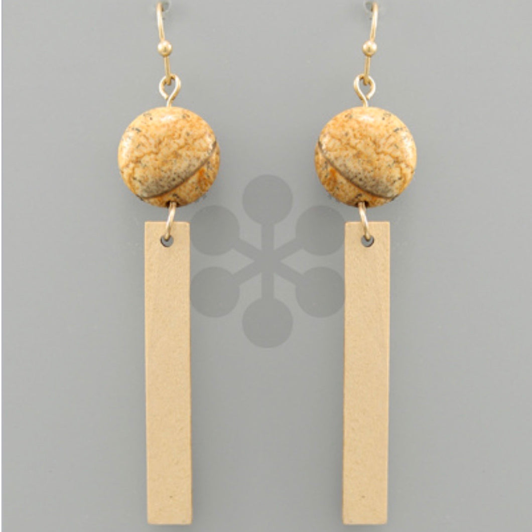 Natural Wood Bar with Tan Marbled Stone Accent Earrings