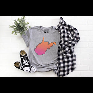 West Virginia State with Pink and Orange - Grey Crew Neck