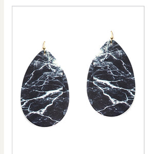 Black Marbled Faux Leather Earrings