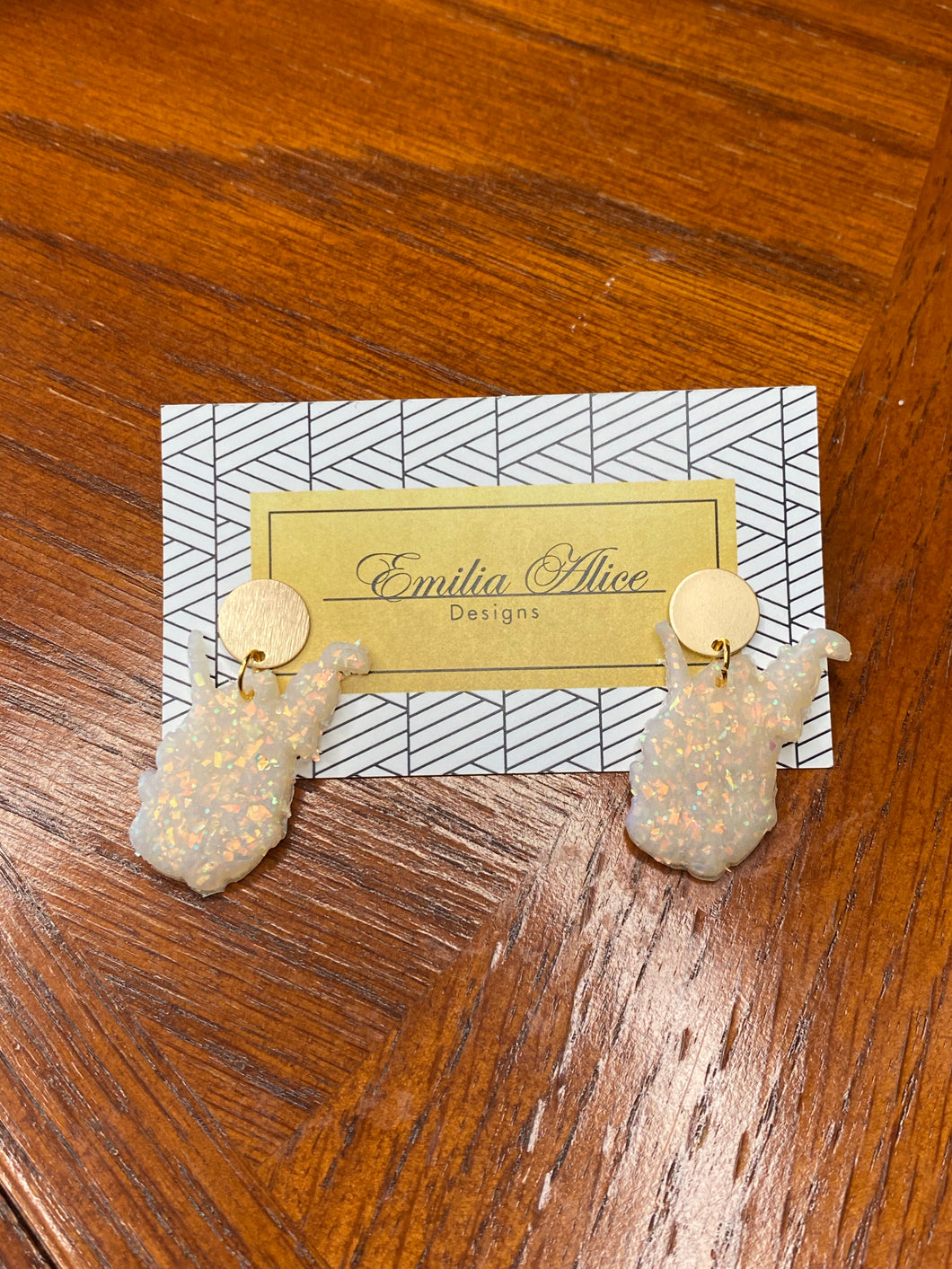 Emilia Alice Designs - Clay Earrings - Sparkling Resin WV State on Gold Stud