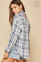 Load image into Gallery viewer, Navy and White Plaid Shirt with Floral Embroidery on the back