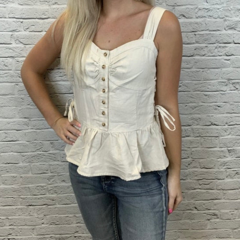 Cream Corset Tank with Lace Up Sides