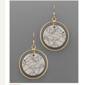 Stone Disk & Circle Earrings - White Marble