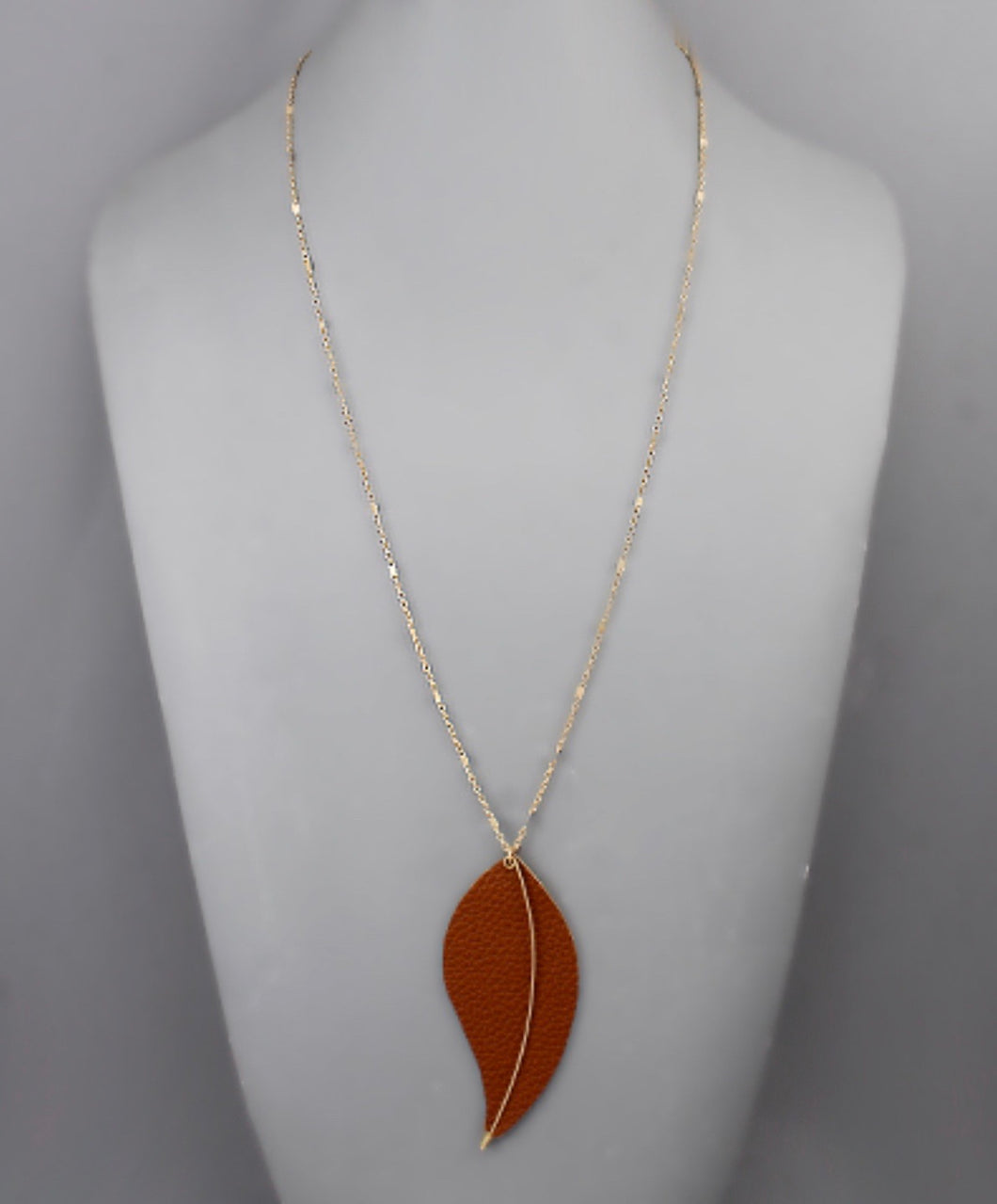 Gold Metal Chain Necklace with Brown Faux Leather Leaf with Gold Bar