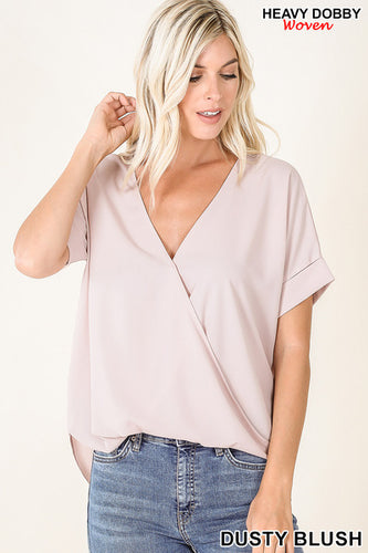 DOBBY LAYERED-LOOK DRAPED FRONT TOP - Dusty Blush