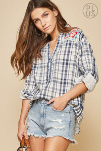 Navy and White Plaid Shirt with Floral Embroidery on the back