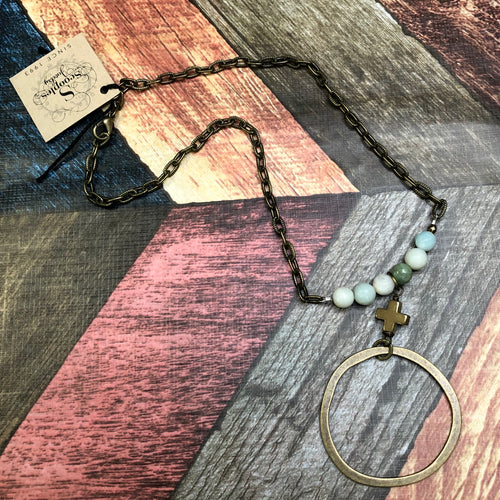 Scooples - Gold Necklace with Amazonite Beads and a Cross with a Circle