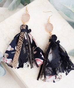 Midnight Garden Druzy Tassel Earrings
