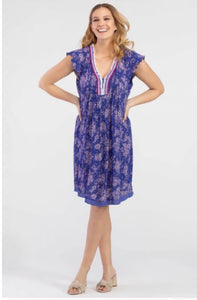 Tribal - Blue and Lilac Pleated Dress with Fringe Detail