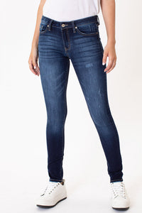 KanCan - Mid Rise Super Skinny Dark Denim Jeans - NON Distressed