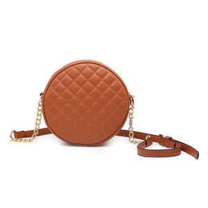 Brown Circle Quilted Crossbody Purse