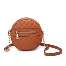 Load image into Gallery viewer, Brown Circle Quilted Crossbody Purse