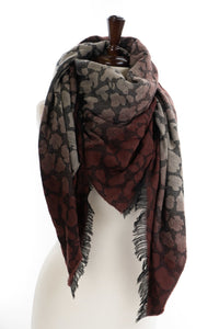Burgundy and Grey Leopard Blanket Scarf