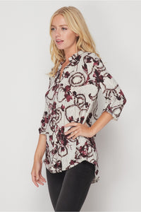 Grey and Burgundy Gabby Tunic