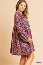 Load image into Gallery viewer, Wine Mix Animal Print Long Puff Sleeve V-Neck Babydoll Dress