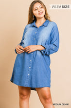 Load image into Gallery viewer, Medium Wash Long Roll Up Sleeve Button Front Collared Denim Dress with Scoop Hem