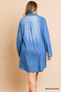 Medium Wash Long Roll Up Sleeve Button Front Collared Denim Dress with Scoop Hem