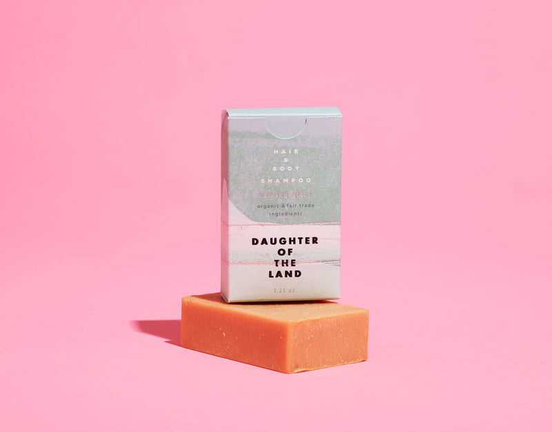 morning glory shampoo bar pink background