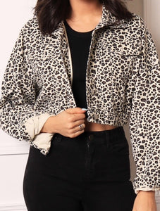 Leopard print crop denim jacket New In