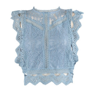 Baby Blue CROCHET LACE MESH CROP TOP New In