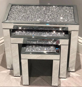 Nest of 3 crush diamanté mirrored side tables