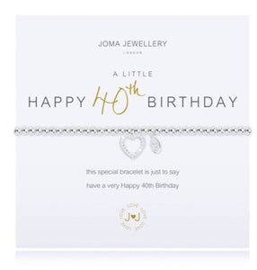 JOMA JEWELLERY A LITTLE HAPPY 40TH – SILVER BRACELET WITH GIFT BAG & TAG Friday Offer