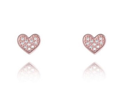 Joma Jewellery Rose Gold CZ Heart Florence Stud Earrings