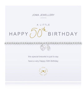 JOMA JEWELLERY A LITTLE HAPPY 50TH – SILVER BRACELET WITH GIFT BAG & TAG