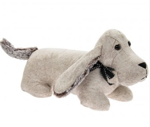 Cream Faux Leather Dachshund Doorstop
