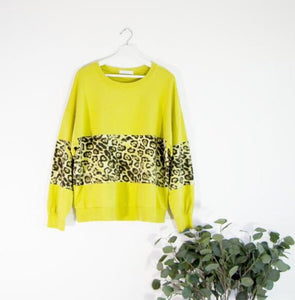 Sarah Tempest Crew neck sweater Yellow with leopard print design New