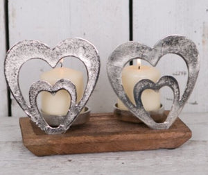 Wooden and silver love heart candle holder