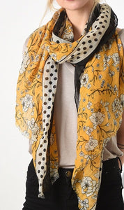 A mustard and black polka dot border florals scarf Miss Short Hair New
