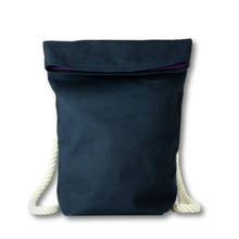 Carregar imagem no visualizador da galeria, Blue Hemp Canvas Backpack with off white cotton straps