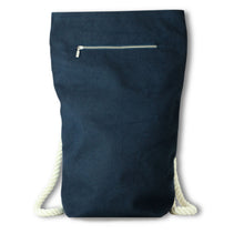Load image into Gallery viewer, Blue Hemp Canvas Backpack with off white cotton straps