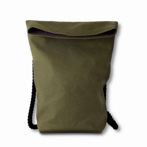 Khaki Green Hemp Canvas Backpack with black cotton straps