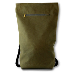 Khaki Green Hemp Canvas Backpack with black cotton straps with zipper detail