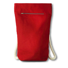 Load image into Gallery viewer, Backpack in red hemp canvas with off white cotton straps