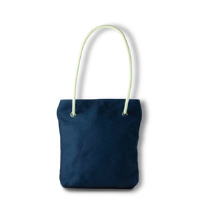 Bag / Backpack in blue hemp canvas with off white cotton straps