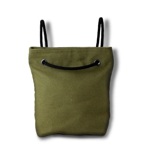 Bag / Backpack in khaki green hemp canvas with off white cotton straps