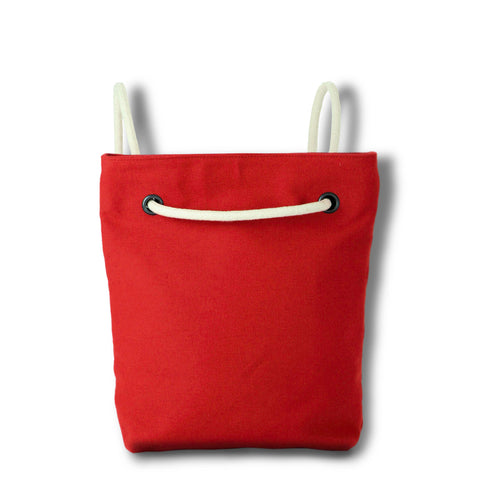 Bag / Backpack in red hemp canvas with off white cotton straps