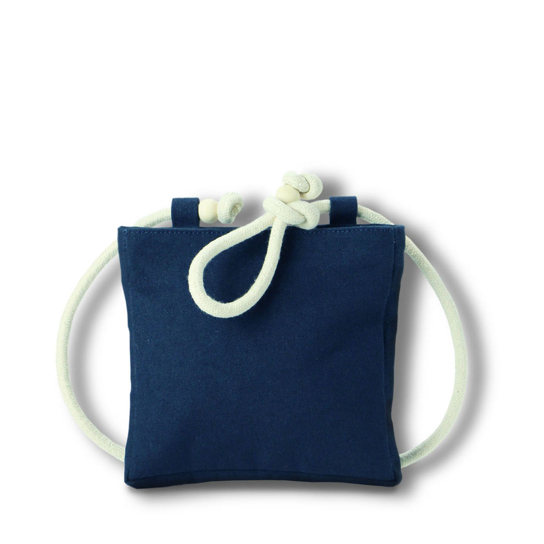 Beltbag/crossbody bag in blue hemp canvas with off white rope strap