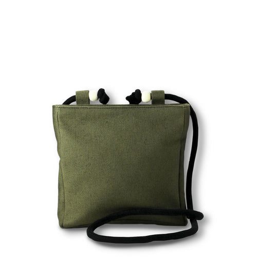 Beltbag/crossbody bag in khaki green hemp canvas with black rope strap