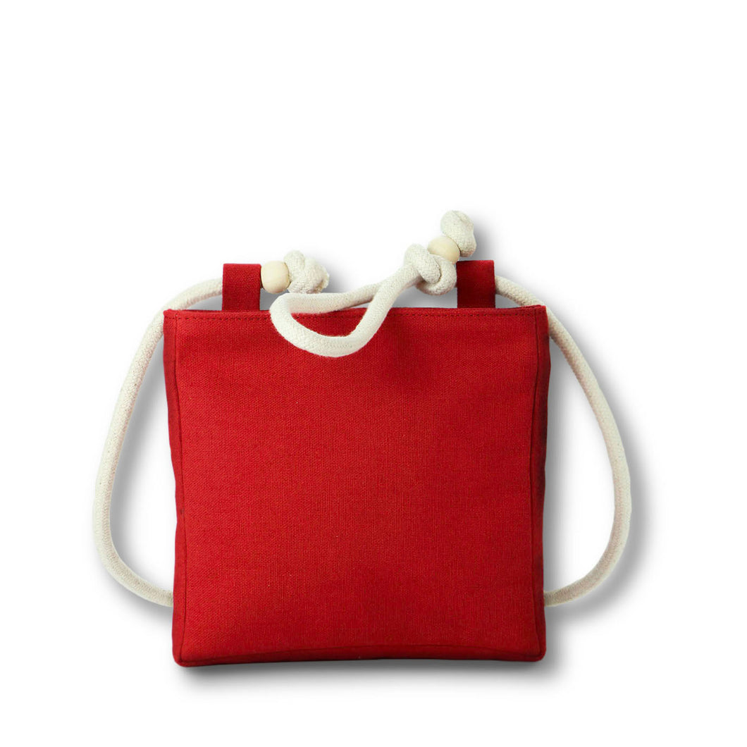 Beltbag/crossbody bag in red hemp canvas with off white rope strap