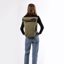 Load image into Gallery viewer, Girl in jeans with hemp backpack in khaki green